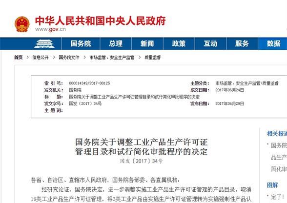 国务院对调整工业产品许可证管理决定图片